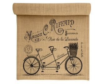 Burlap Table Runner, Bike Burlap Runner, Paris Table Linens, TheWatsonShop
