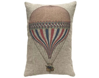 Hot Air Balloon Throw Pillow, Linen Lumbar Pillow, Modern