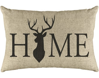 Deer Home Throw Pillow, Rustic Farmhouse, Linen Lumbar Pillow