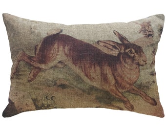 Bunny Throw Pillow, Linen Lumbar Pillow, Rustic