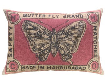 Butterfly Throw Pillow, Linen Lumbar Pillow