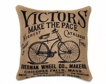 Bicycle Pillow, Bike Cushion, Decorative Throw Pillow, Burlap, Black, Beige, Wright Brothers 16""