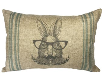 Rabbit Striped Throw Pillow, Shabby Chic Linen Lumbar Pillow, French