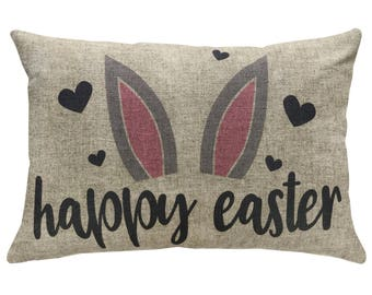 Happy Easter Bunny Throw Pillow, Linen Lumbar Pillow