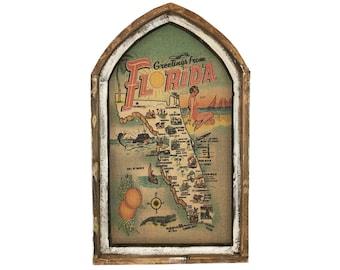 "Florida Map Wall Art   18"" x 30""   Arch Window Frame   Burlap Wall Hanging   Coastal Decor  "