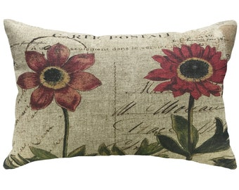 Flowers Throw Pillow, Linen Lumbar Pillow, French