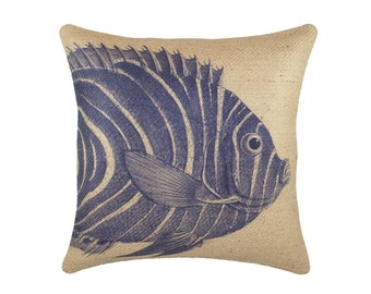 Burlap Fish Pillow Cover, Nautical Cushion, Beach Pillow Cover, Navy and Beige
