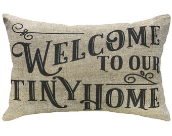 Tiny Home Throw Pillow, Linen Lumbar Pillow