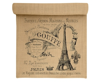 Burlap Table Runner, Eiffel Tower Burlap Runner, Paris Table Linens, TheWatsonShop