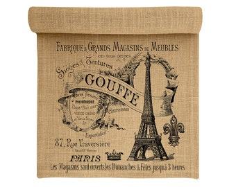 Burlap Table Runner, Eiffel Tower Burlap Runner, Paris Table Linens, TheWatsonShop