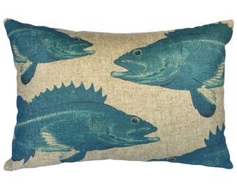 Patterned Fish Throw Pillow, Linen Lumbar Pillow, Nautical