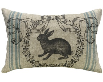 Bunny Grainsack Throw Pillow, Shabby Chic Linen Lumbar Pillow, French