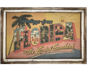 "Florida Postcard Wall Art | 24"" x 36"" | Window Frame | Coastal Decor | Florida Decor |"