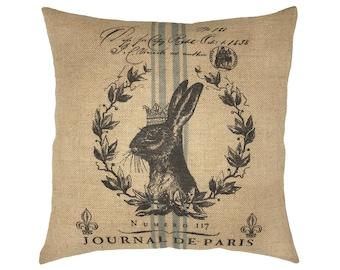 "Rabbit Burlap Pillow I 18"" x 18"" Country Farmhouse Pillow I Grain Sack"