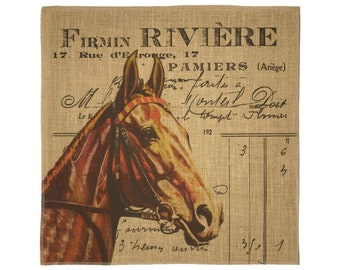 Horse Burlap Fabric, Printed Fabric Panel for Upholstery and Framing