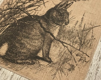 Rabbit Burlap Panel, French Printed Fabric