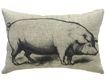 Pig Throw Pillow, Rustic Linen Lumbar Pillow, Farmhouse