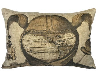 Map Throw Pillow, Jester Linen Lumbar Pillow, Industrial