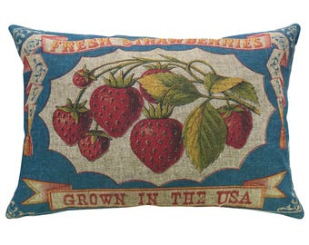 Fresh Strawberries Throw Pillow, Linen Lumbar Pillow