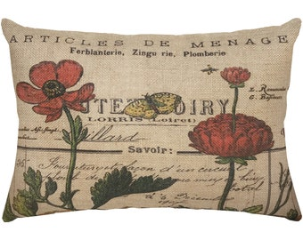 Floral Burlap Pillow, French Script, Country Farmhouse, 18x12