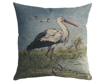 "Heron Linen Throw Pillow 15"" x 15"""