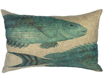 Blue Fish Throw Pillow, Linen Lumbar Pillow, Nautical