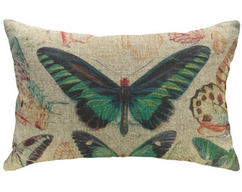 Butterflies Throw Pillow, Rustic Linen Lumbar Pillow, Cottage