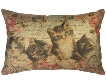 French Cats Bird Throw Pillow, Linen Lumbar Pillow, Cottage