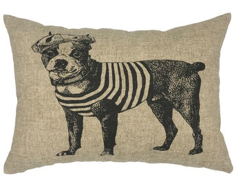 French Dog Throw Pillow, Modern Farmhouse Linen Lumbar Pillow