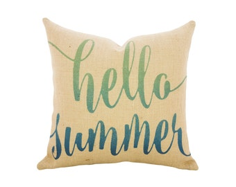 Hello Summer Burlap Throw Pillow, Nautical Ombre Pillow
