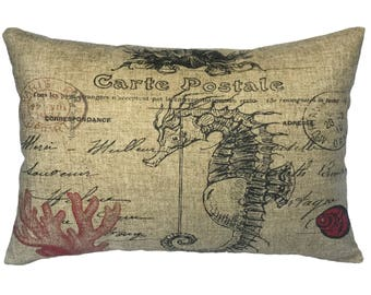 Seahorse Throw Pillow, Linen Lumbar Pillow, Nautical