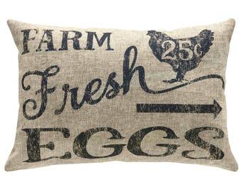 Farm Fresh Eggs Typography Throw Pillow, Linen Lumbar Pillow