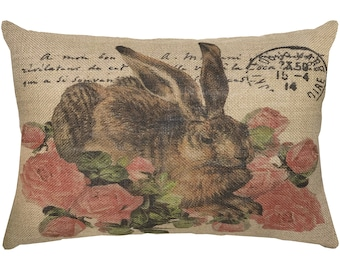 Bunny Burlap Pillow, Hare with Roses Lumbar Pillow, French Country, 18x12