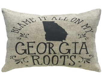 Georgia Roots Throw Pillow, Linen Lumbar Pillow