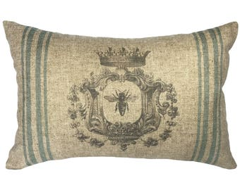 Bee Throw Pillow, Shabby Chic Linen Lumbar Pillow, French