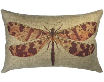 Dragonfly Throw Pillow, Linen Lumbar Pillow, Cottage