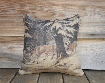 Reindeer Pillow Cover, Decorative Throw Pillow, Winter, Woodlands, Snow, 16x16
