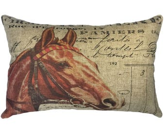 French Horse Throw Pillow, Cottage Linen Lumbar Pillow, Rustic