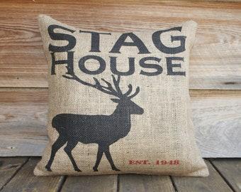 Deer Burlap Pillow, Throw Pillow, Cushion, Rustic Furniture, Cabin Decor