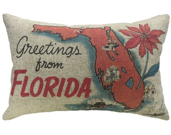 Greetings From Florida Throw Pillow, Linen Lumbar Pillow, Nautical