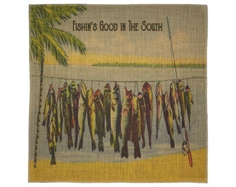 Southern Fishing Burlap Fabric, Printed Fabric Panel for Upholstery and Framing