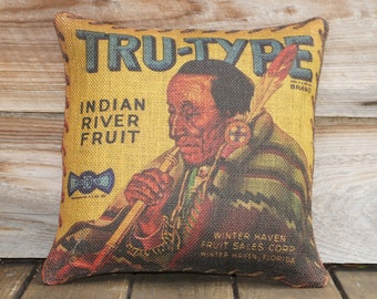 American Indian Pillow Cover, Burlap Throw Pillow Cover - Native American Decor, Lodge