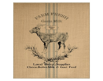 Goat Grainsack Burlap Panel, Reproduction Printed Fabric