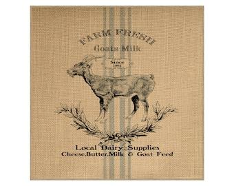 Goat Grainsack Burlap Panel, Reproduction Printed Fabric