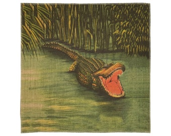 Alligator Burlap Fabric, Printed Fabric Panel for Upholstery and Framing