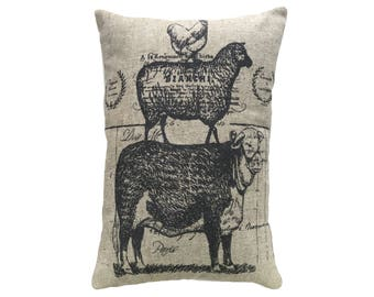 Cow Sheep Chicken Throw Pillow, Rustic Linen Lumbar Pillow, Farmhouse