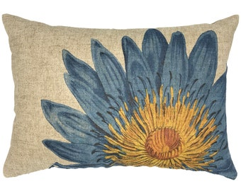 Lotus Flower Throw Pillow, Blue Linen Lumbar Pillow, Cottage