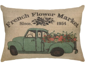 French Flower Market Burlap Pillow, Truck Lumbar Pillow, Country Farmhouse, 18x12
