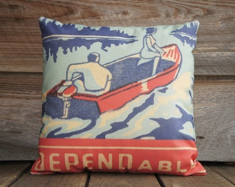 Decorative Throw Pillow Cover of Blue and Red Boat, Cotton Pillow, Cushion Cover, Anniversary, Dependable 16x16