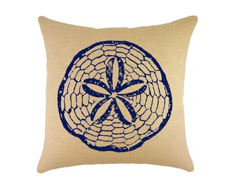 "Sand Dollar Burlap Pillow 16"", Nautical Accent"